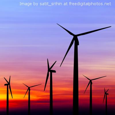 i wind turbine sunset