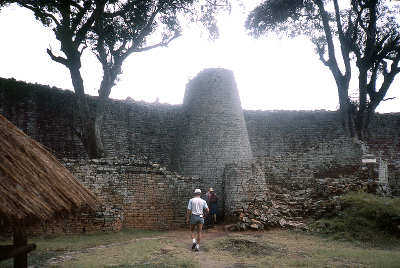 Zimbabwe Ruins Tower with person