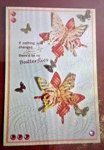 Sample card made with butterfly pattern